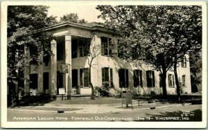 Vincennes, Indiana RPPC Photo Postcard American Legion Home - Old Courthouse