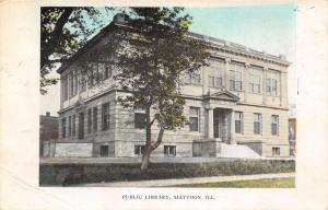 Mattoon IL~Carnegie Library~Tinted Hedges & Tree~ Chicago & Carbondale RPO 1908