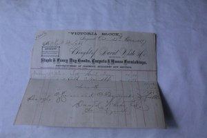 Vintage 1877 Merchants Receipt Ingersoll, ONT David White Co.