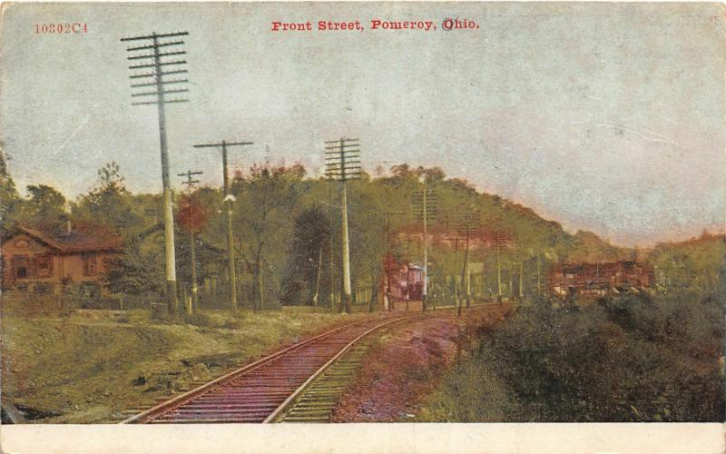 F28/ Pomeroy Ohio Postcard 1909 Front Street Railroad Tracks