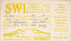 QSL Radio Postcard , Lookout Mt , Tennessee ,PU-1939