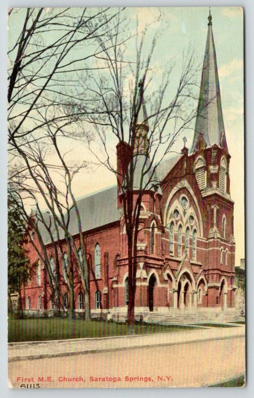 Saratoga Springs NY~First Methodist Episcopal ME Church~Tall Steeple~c1910 PC