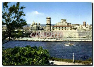 Modern Postcard Marseille Fort St John and Cathedrale