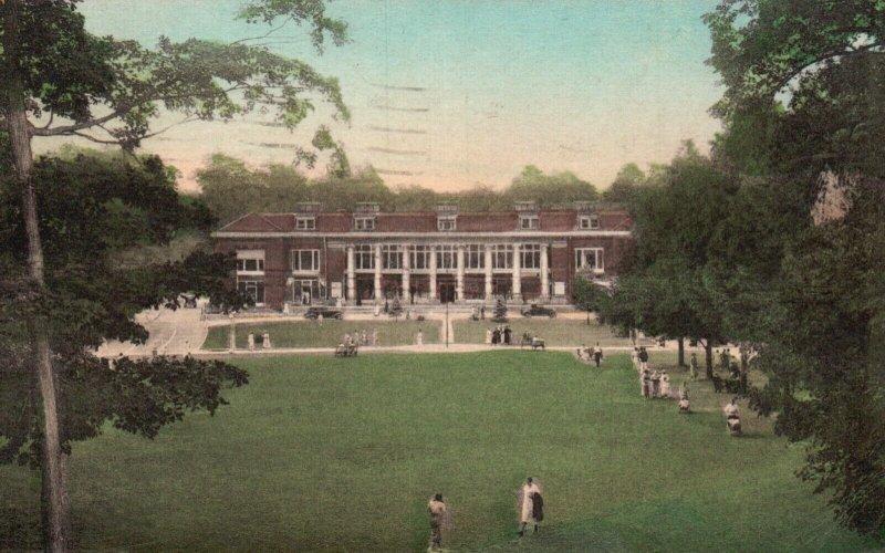 Chautauqua, NY, Colonnade & Plaza, 1943 Hand Colored Vintage Postcard g2046