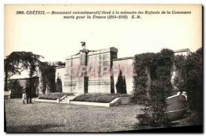 Old Postcard Creteil high Commemorative Monument memory of the Children of th...