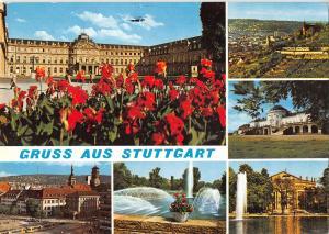 GG14153 Gruss aus Stuttgart Schloss Blumen Brunnen Rathaus, Town Hall Castle