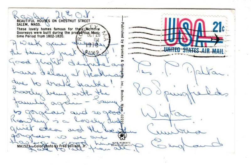 Postcard United States Massechusetts Salem Beautiful Houses on Chestnut Street