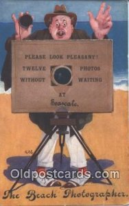 The Beach Photographer Novelty Postcard Post Cards Old Vintage Antique Mechan...