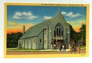 Rehoboth Beach Delaware Saint Edmunds Catholic Church Linen Vintage Postcard