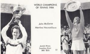 John McEnroe Martina Navratilova 1984 Wimbledon Tennis Wiiner Champions Postcard