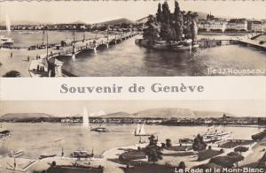 Switzerland Geneve Ile J J Rouseau und La Rade et le Mont Blanc Photo
