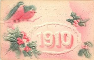 New Year~Large Snow Numbers 1910~Birds on Branch~Red Green Airbrushed~Embossed