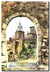 Old Postcard Watercolors Pro Cote D & # 39Azur Village Provencal
