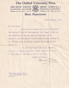 Hubert Foss Classical Composer Newfoundland Folk Morris Songs Hand Signed Letter