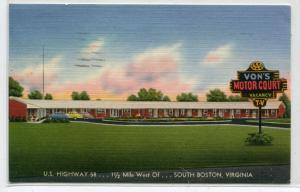 Vons Motor Court Motel US 58 South Boston Virginia 1959 linen postcard