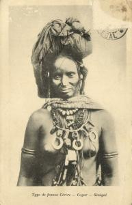 senegal, CAYOR, Topless Native Cérère Woman, Necklace Jewelry (1899) Postcard