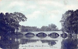Three Rivers Michigan~Arch Bridge Over St Joe River~c1910 Pratt Postcard