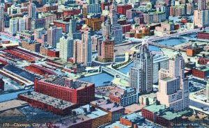 City Of Towers Aerial View Skyline  Chicago Illinois Vintage Linen Post Card