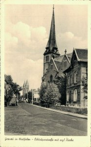Germany Gronau in Westfalen Occuper Straße mit Kirche 04.84