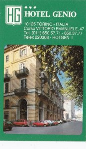 Italy Torino Hotel Genio Vintage Luggage Label sk3455