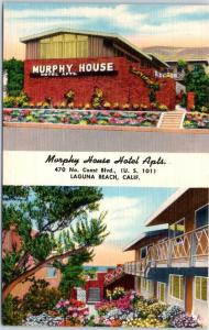 Laguna Beach, California Postcard MURPHY HOUSE HOTEL APARTMENTS Linen 1950s
