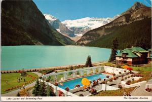 Lake Louse and Swimming Pool Alberta AB Canadian Rockies Vintage Postcard D37