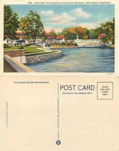 View From the Municipal Recreation Bldg, Lake Geneva, Wisconsin, WI, Linen