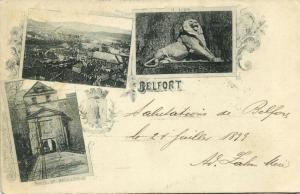 france, BELFORT, Multiview, Panorama, Porte de Brisach, Le Lion (1899) Stamp