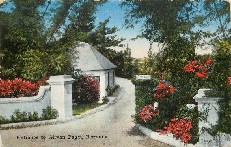 Bermuda entrance to Girvan Paget postcard