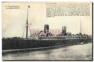 Old Postcard Boat Ship Transatlantic Provence