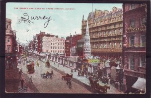 P1385 1907 used postcard old cars horse wagons money exchange signs london