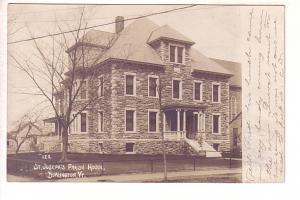Real Photo, St Joseph's Parish, Burlington, Vermont, Used 1907, Flag Cancel