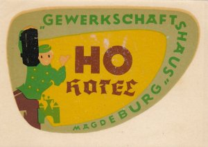 Germany Magdeburg Ho Hotel Gewerkschaftshaus Vintage Luggage Label sk2590