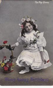 The May Queen, Many Happy Birthdays, Basket of Flowers, PU-1909