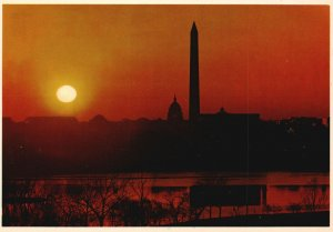 Vintage Postcard Washington Monument US Capitol & Lincoln Memorial W DC