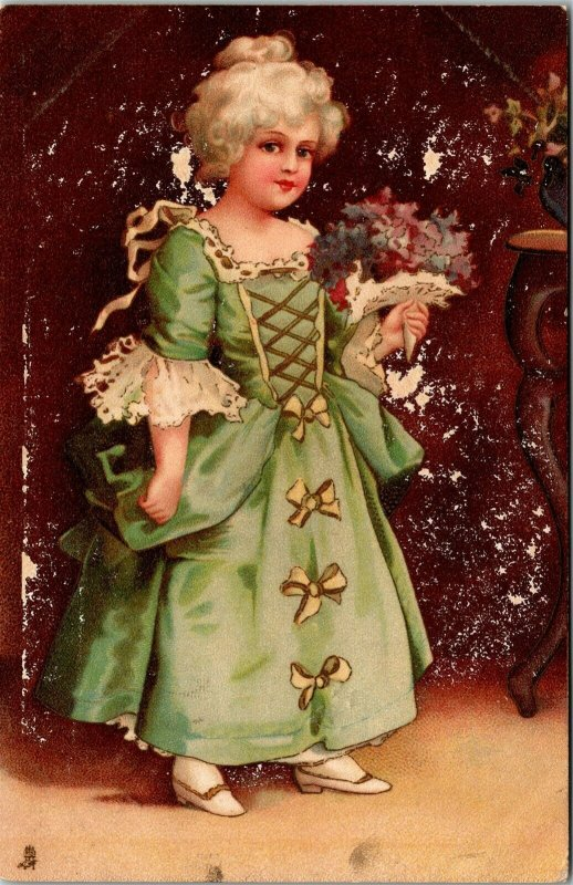 Postcard Raphael Tuck Girl in Green Dress No. 1028 1903 A16
