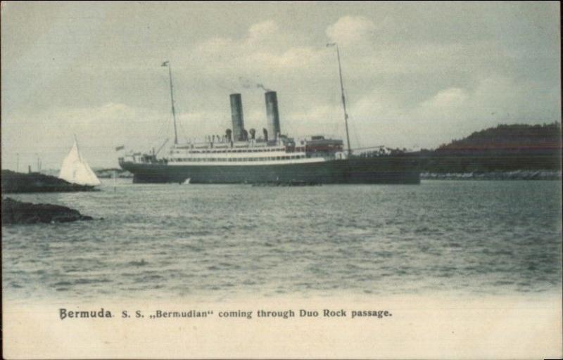 Bermuda SS Bermudian Steamship Ship Duo Rock Passage c1905 UDB Postcard