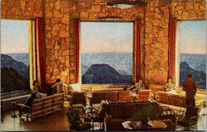 Grand Canyon Lodge North Rim Sunroom Union Pacific RR Cedar city UT vtg Postcard