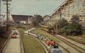 Nantasket Beach MA Paragon Park Race Cars Ride & Roller Coaster Postcard