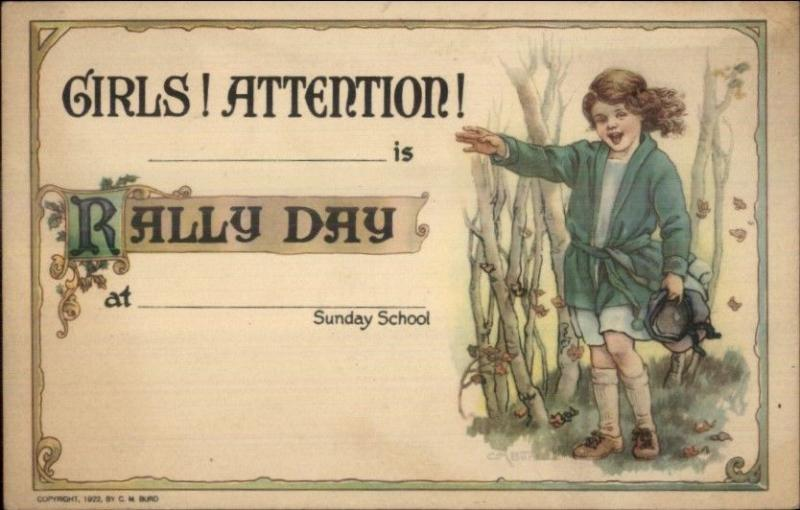 CM Burd Rally Day Sunday School Children 1922 Postcard #3 EXC COND