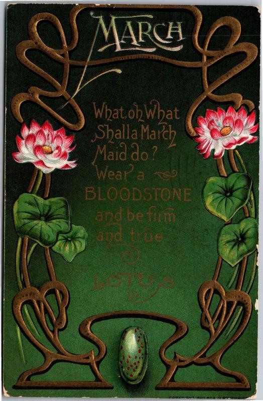 Art Nouveau Style, March Birth Stone Bloodstone Decorative Postcard J06