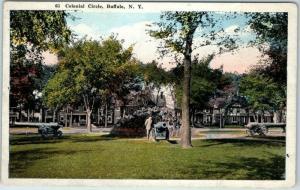 Buffalo, New York Postcard Colonial Circle Park Scene Cannons c1910s Unused