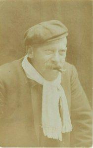 Postcard RPPC Man Smoking Cigar
