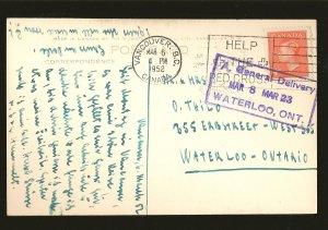 Postmarked 1952 Lions Gate Bridge Vancouver Canada Gowen Sutton Postcard