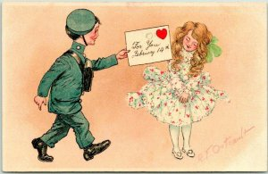 1900s Artist-Signed Outcault VALENTINE'S DAY Postcard Postman /Letter Tuck's 112