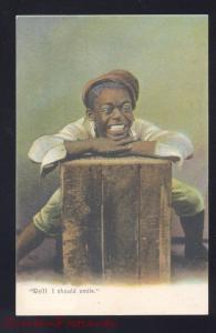 BLACK AMERICANA NEGRO BOY BOX WELL I SHULD SMILE ANTIQUE VINTAGE POSTCARD