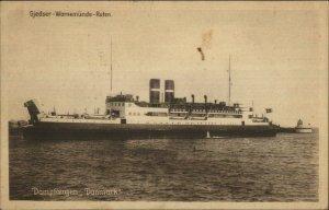 Danish Steamship Gjedser Warnemunde-Ruten Dampfoergen DANMARK Postcard