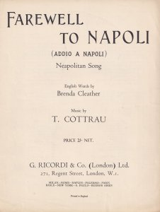 Farewell To Napoli T Cottrau Neopolitan Song Italian Olde Sheet Music