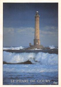 France La Hague (Manche) Le Phare de Goury par gros Temps Lighthouse
