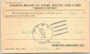 1911 Nebraska City, Neb. Postcard MORTON-GREGSON CO. Coupon Brand of Hams